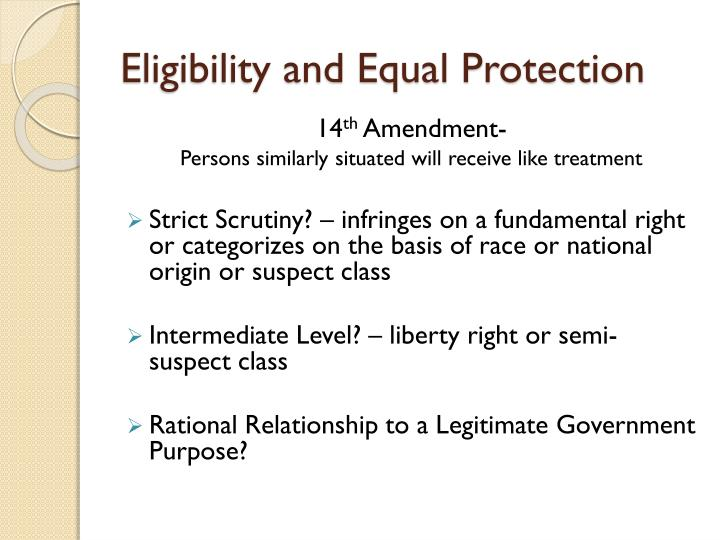 Eligibility and Equal Protection