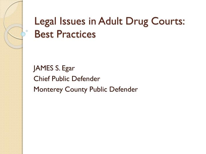 Legal Issues in Adult Drug Courts: