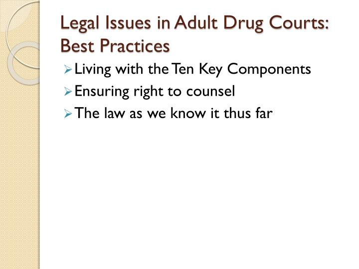 Legal Issues in Adult Drug Courts: Best Practices