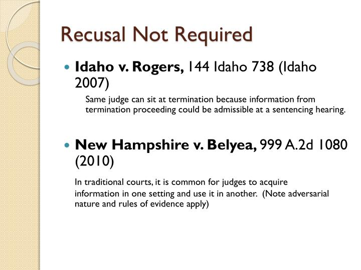 Recusal Not Required