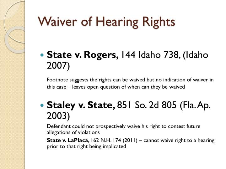 Waiver of Hearing Rights