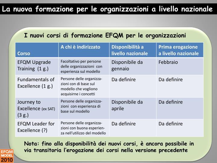 La nuova formazione per le organizzazioni a livello nazionale