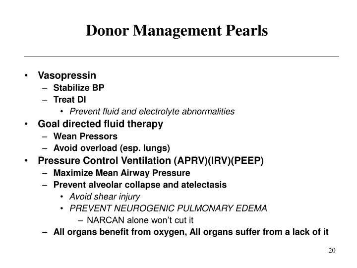 Donor Management Pearls