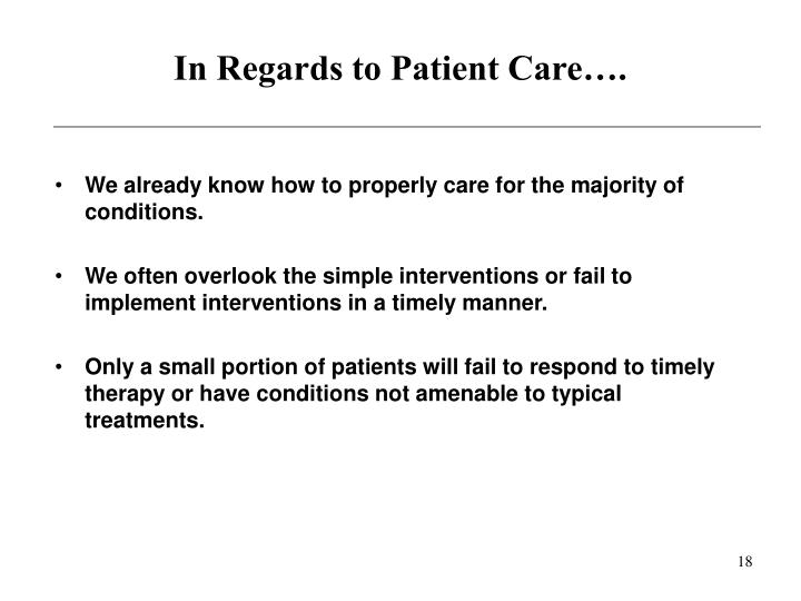In Regards to Patient Care….