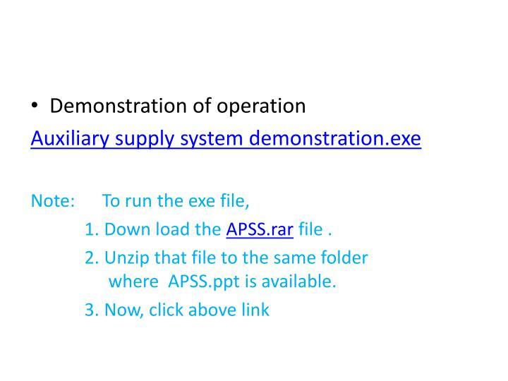 Demonstration of operation