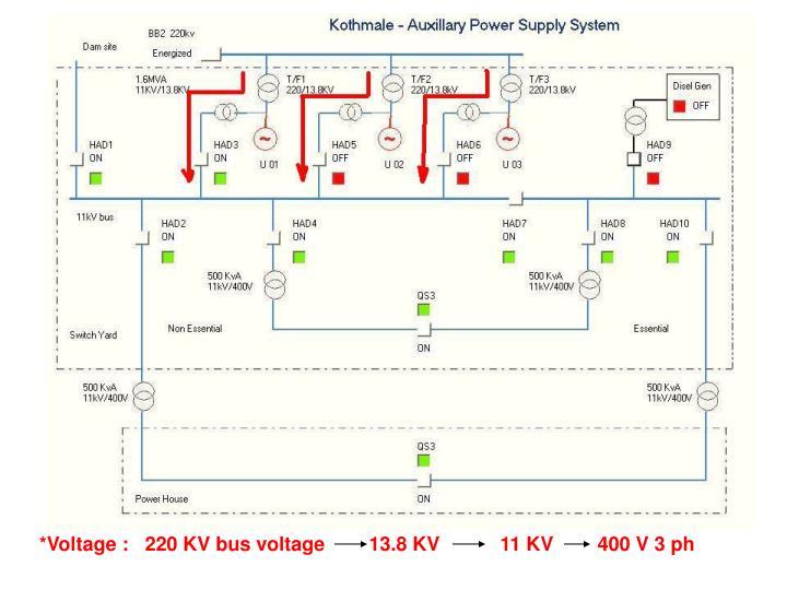 *Voltage :   220 KV bus voltage        13.8 KV           11 KV