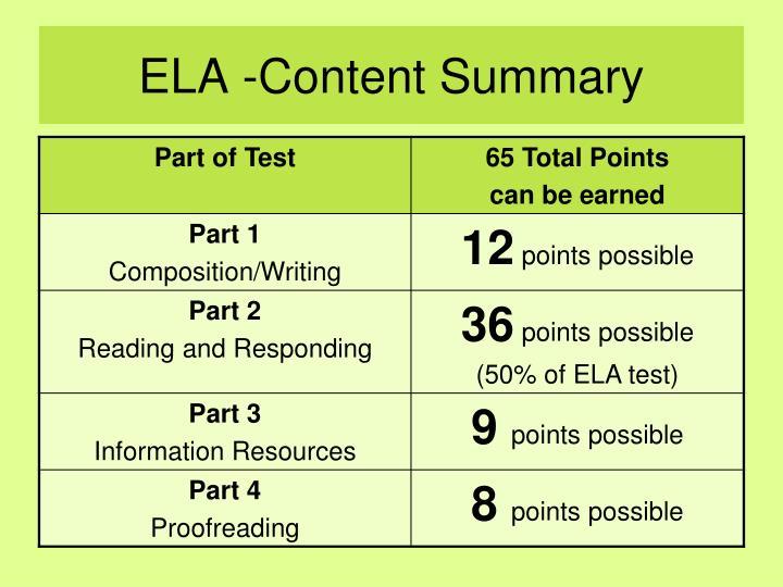 ELA -Content Summary