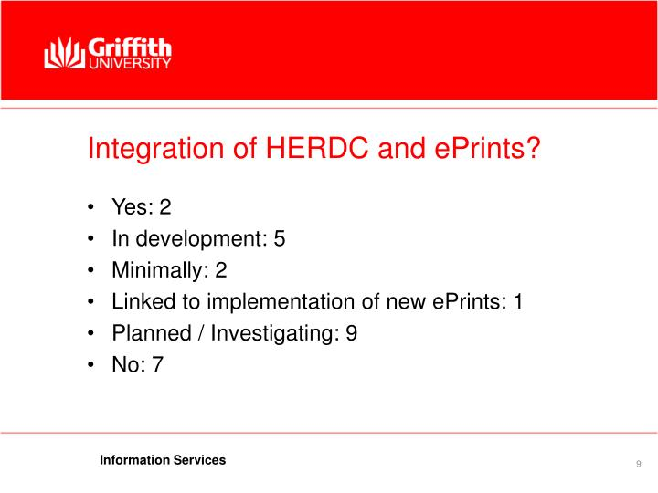 Integration of HERDC and ePrints?
