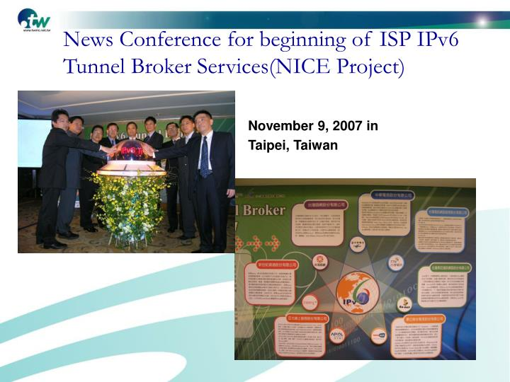 News Conference for beginning of ISP IPv6 Tunnel Broker Services(NICE Project)