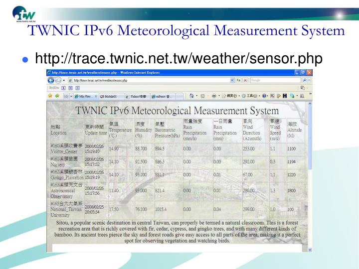 TWNIC IPv6 Meteorological Measurement System