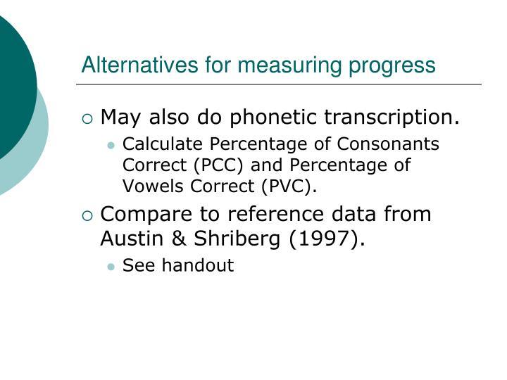 Alternatives for measuring progress