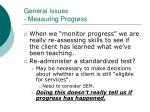 general issues measuring progress