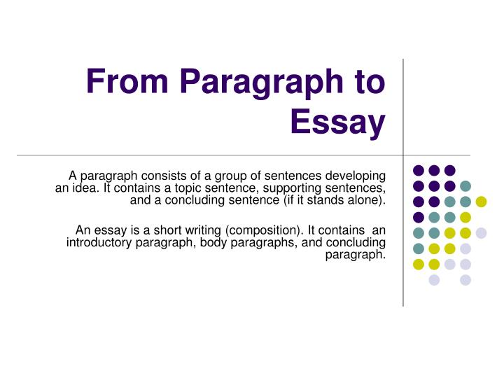 moving to the five paragraph narrative essay The five paragraph essay the objective is to write a narrative essay about this present you were given introductory paragraph.