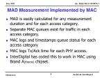 mad measurement implemented by mac