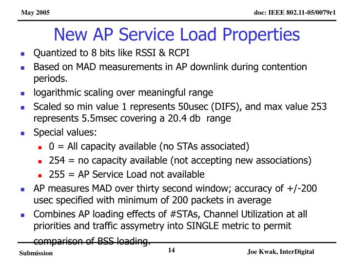 New AP Service Load Properties