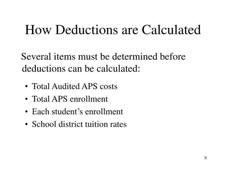 How Deductions are Calculated
