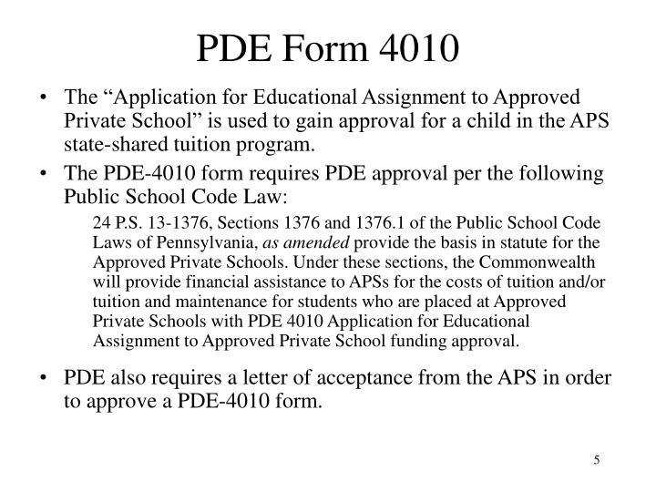 PDE Form 4010