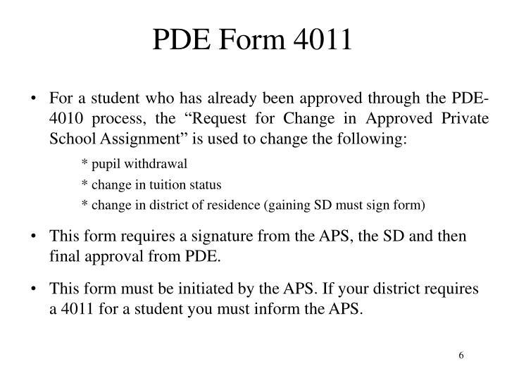 PDE Form 4011