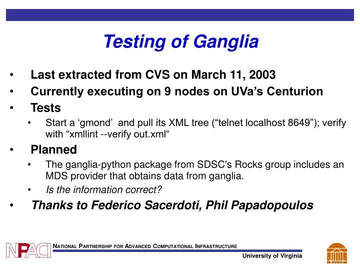 Testing of Ganglia