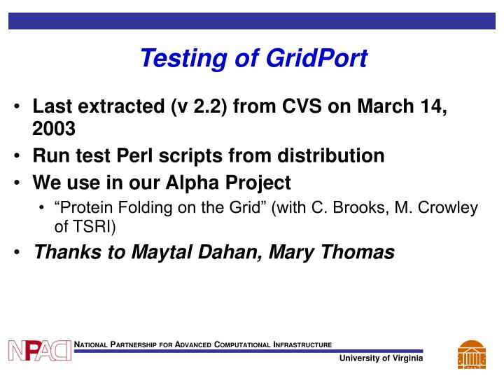 Testing of GridPort