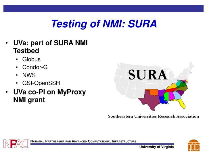 Testing of NMI: SURA