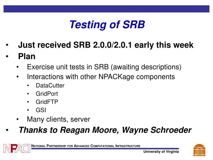 Testing of SRB