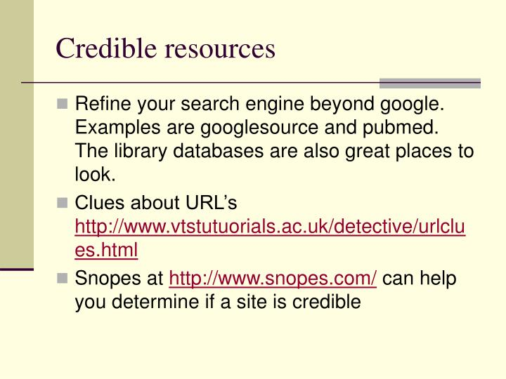 Credible resources