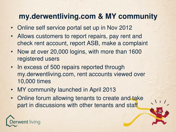 my.derwentliving.com & MY community