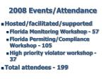 2008 events attendance