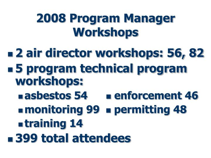 2008 Program Manager Workshops