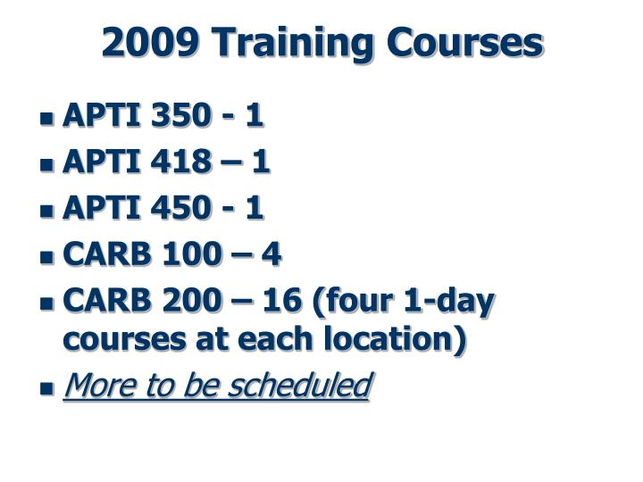 2009 Training Courses
