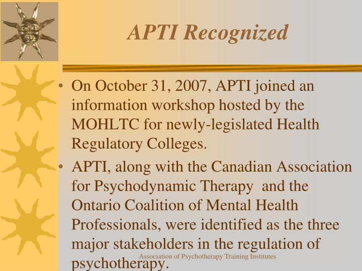 APTI Recognized