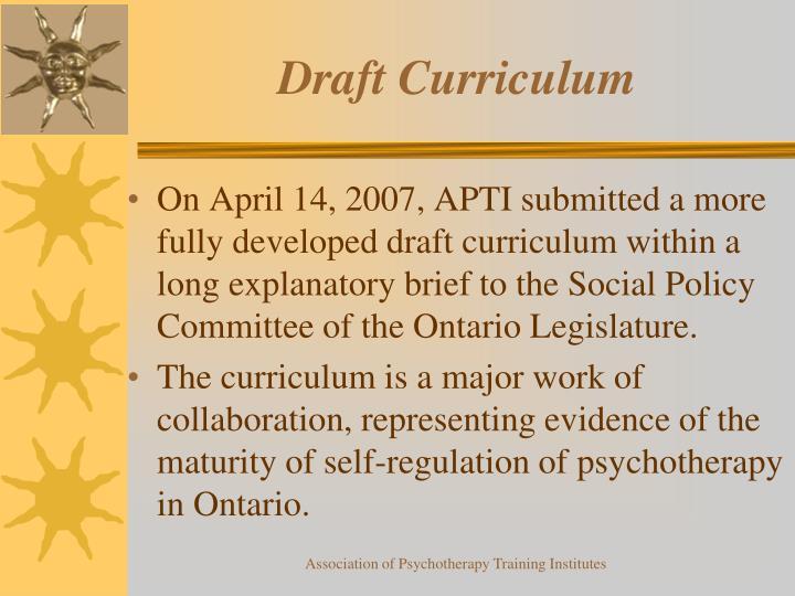 Draft Curriculum
