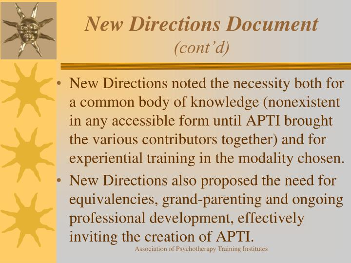 New Directions Document
