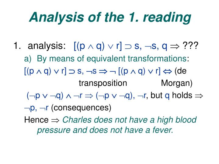 Analysis of the 1. reading