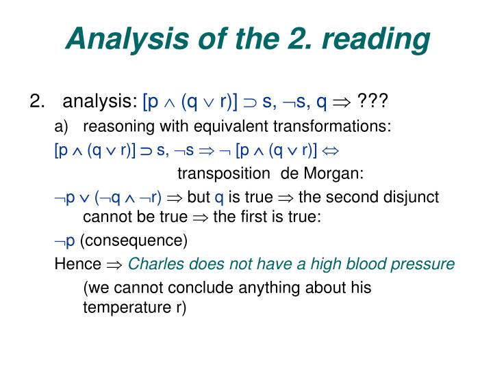 Analysis of the 2. reading