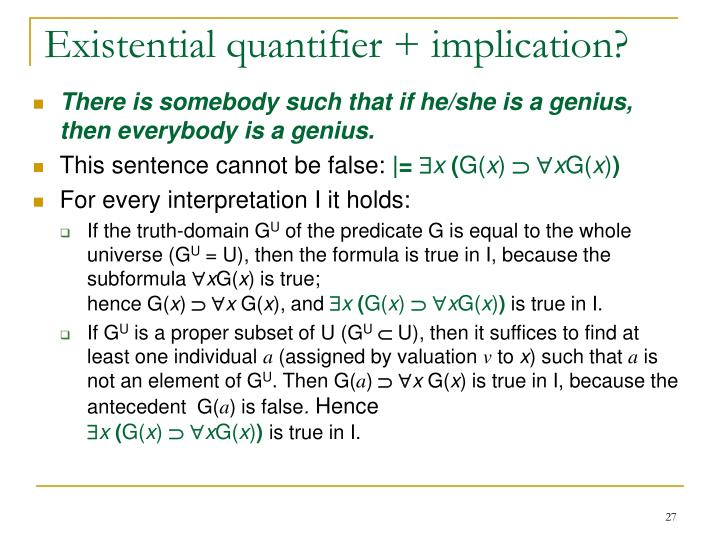 Existential quantifier + implication