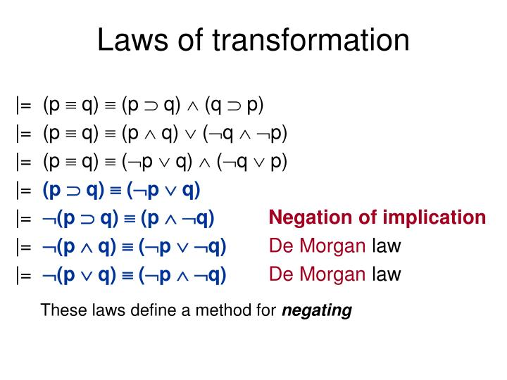 Laws of transformation