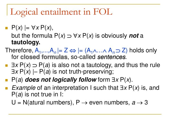 Logical entailment in