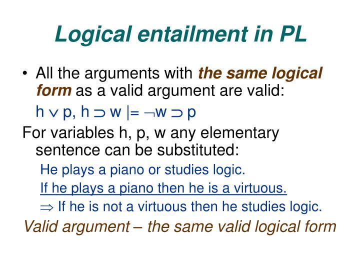 Logical entailment in PL