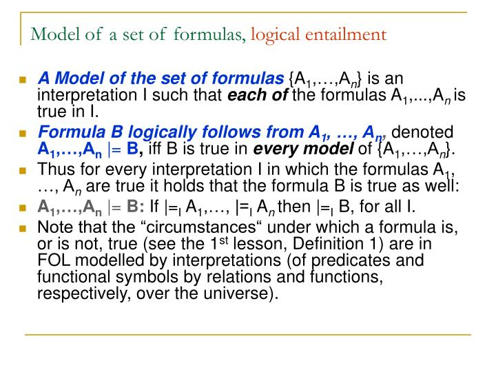 Model of a set of formulas