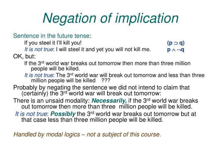 Negation of implication