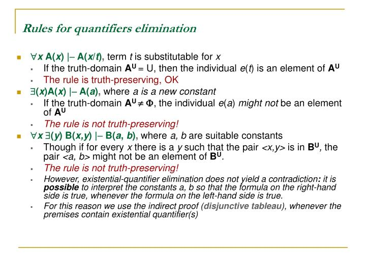 Rules for quantifiers elimination
