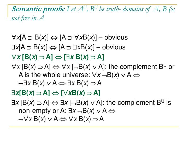 Semantic proofs