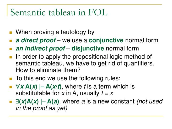 Semantic tableau in