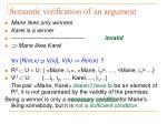 semantic verification of an argument2