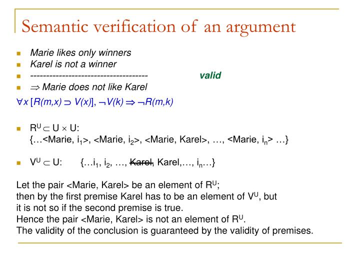 Semantic verification of an argument
