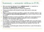 summary semantic tableau in fo l