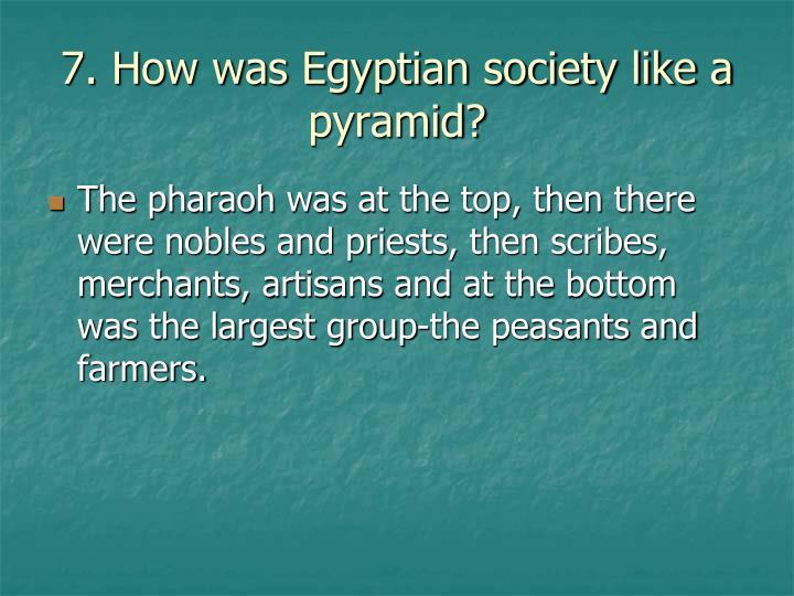 7. How was Egyptian society like a pyramid?