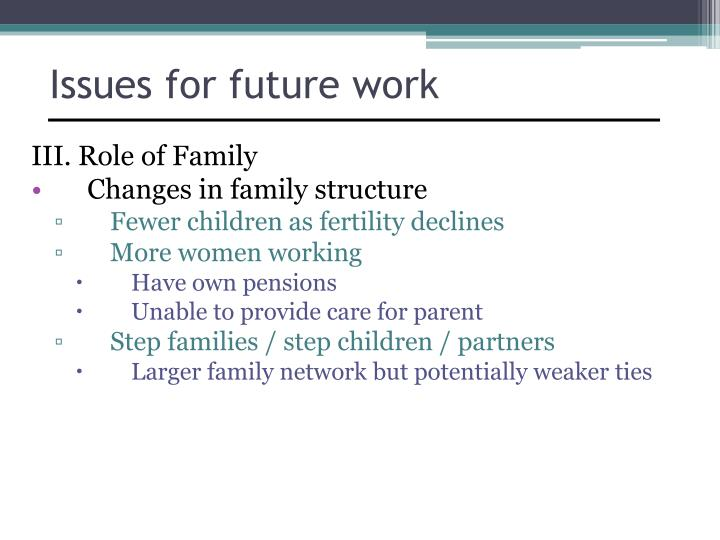 Issues for future work